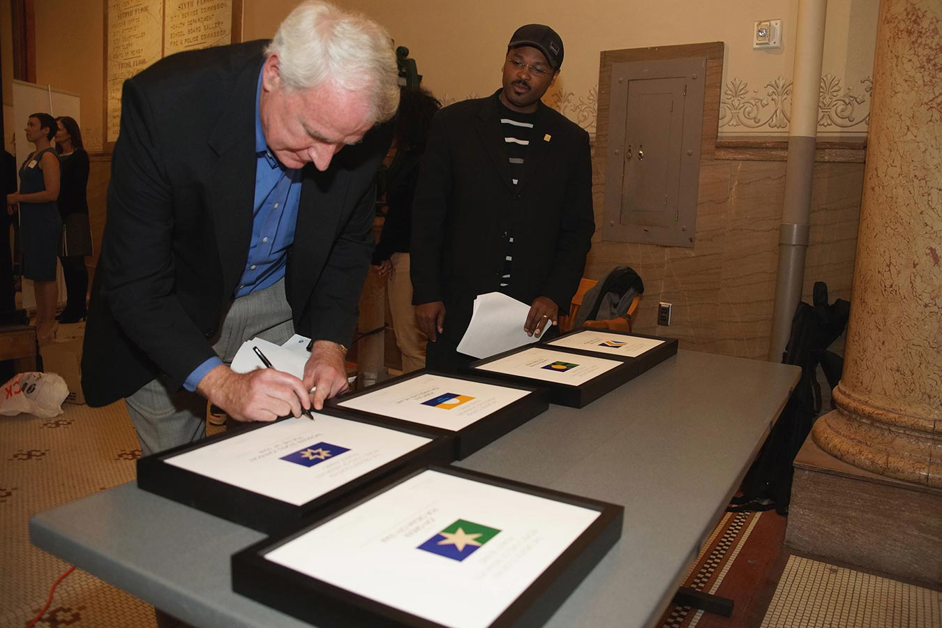 Milwaukee Mayor Tom Barrett at People's Flag of Milwaukee Exhibition - City Hall